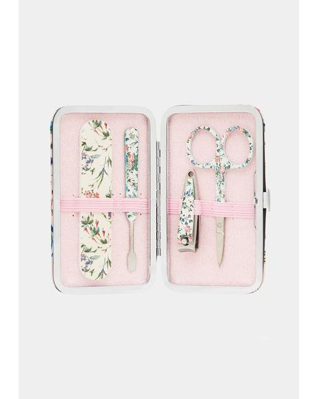 Pink Floral Manicure Purse Set