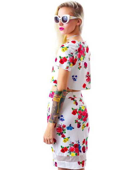 Meshing Up My Flowers Skirt