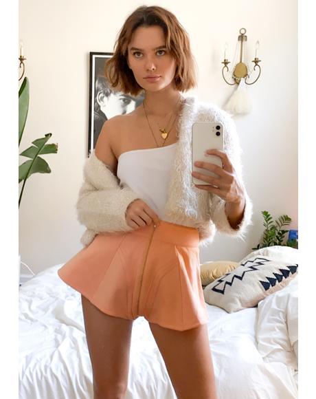 Rose Gold Fleece High Waist Shorts