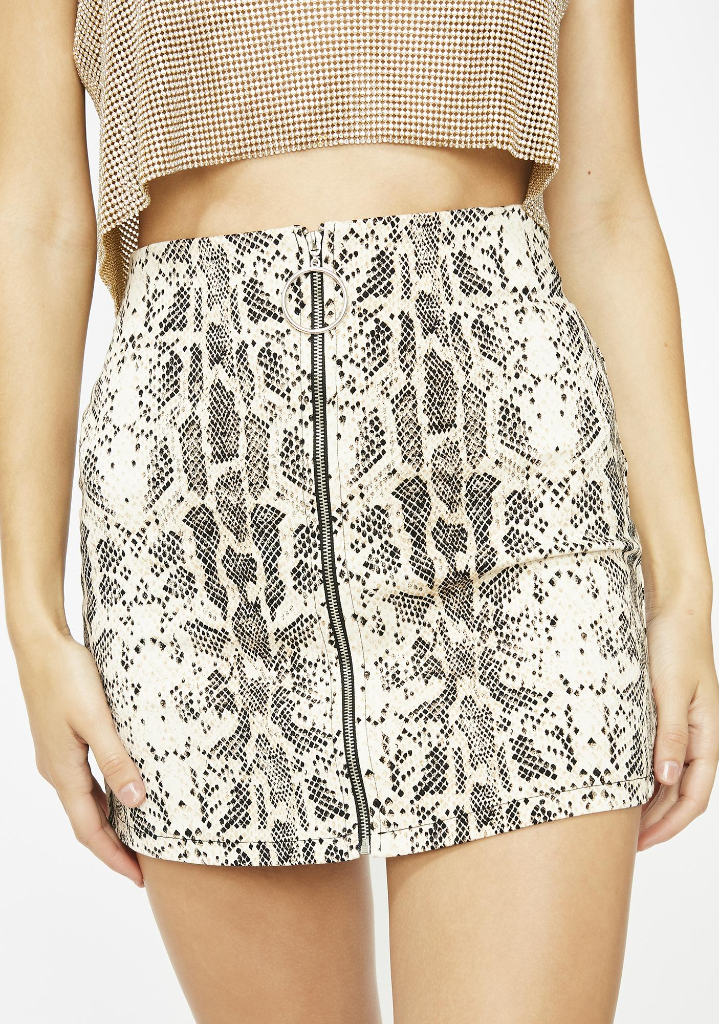 f9b09f9b2 Snakeskin Zip O-ring Mini Skirt | Dolls Kill