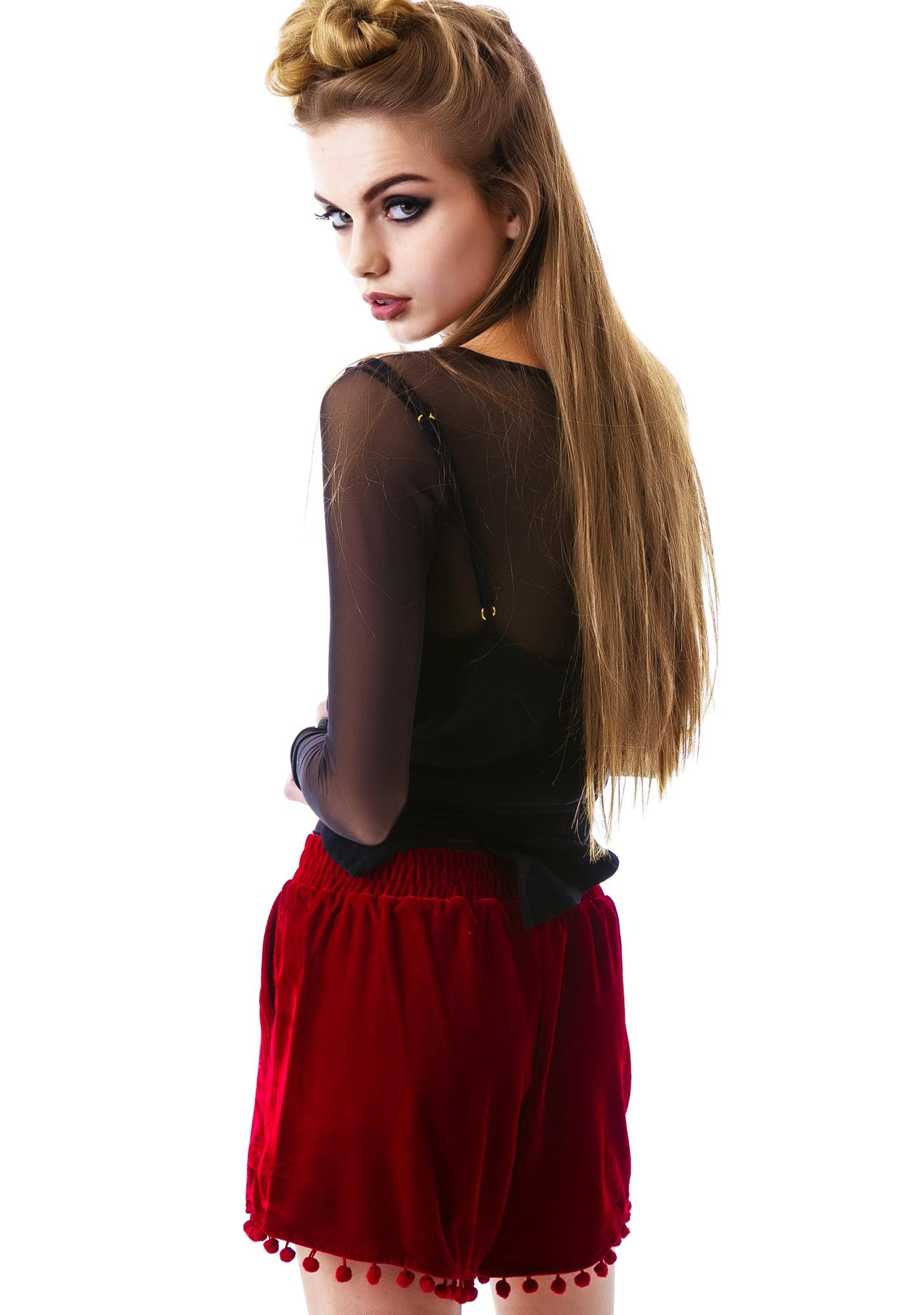 Cherry Poppin Velvet Shorts