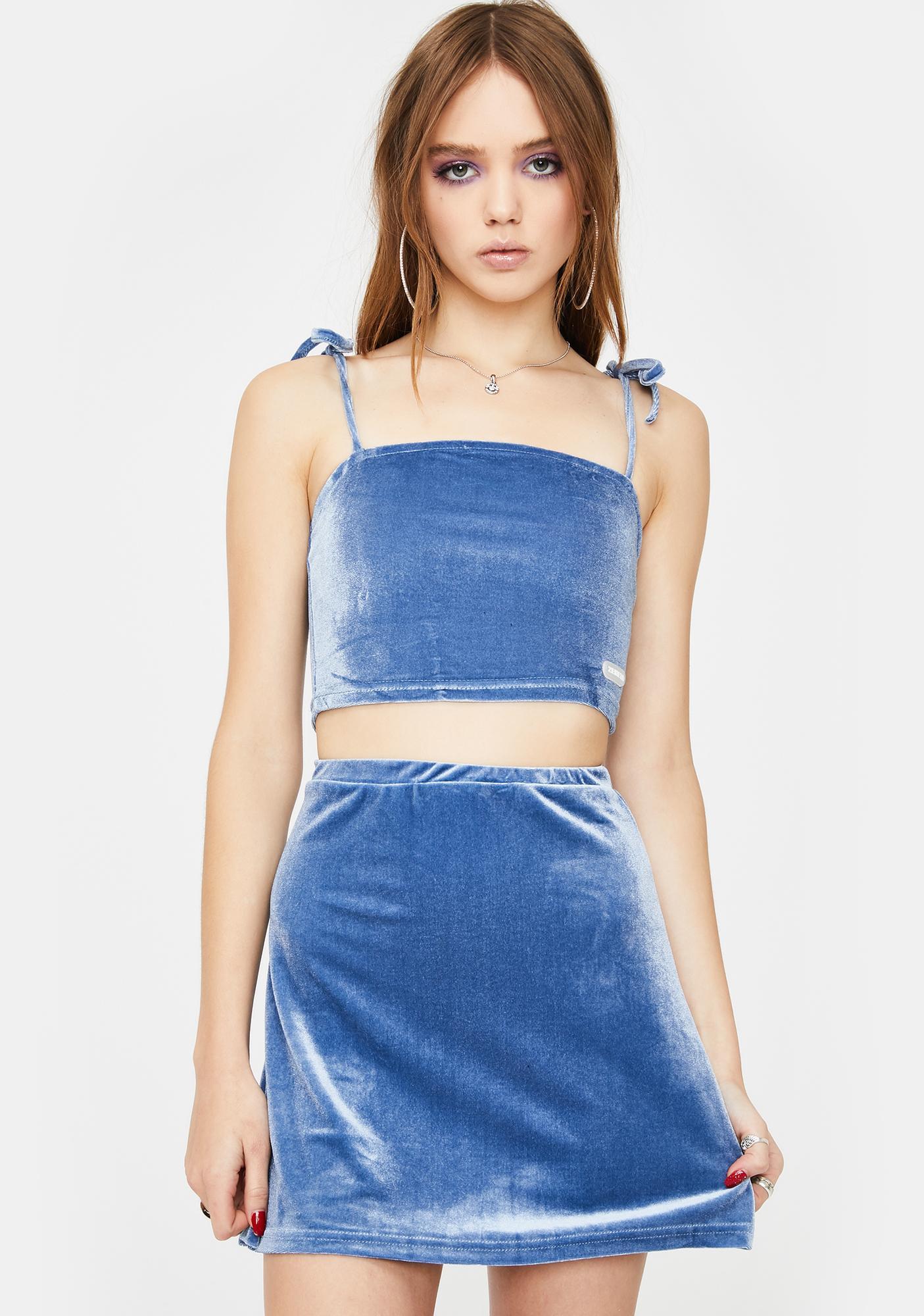 ZEMETA Sky Blue Velvet Skirt Set
