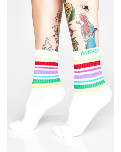 Rainbow Striped Sporty Socks