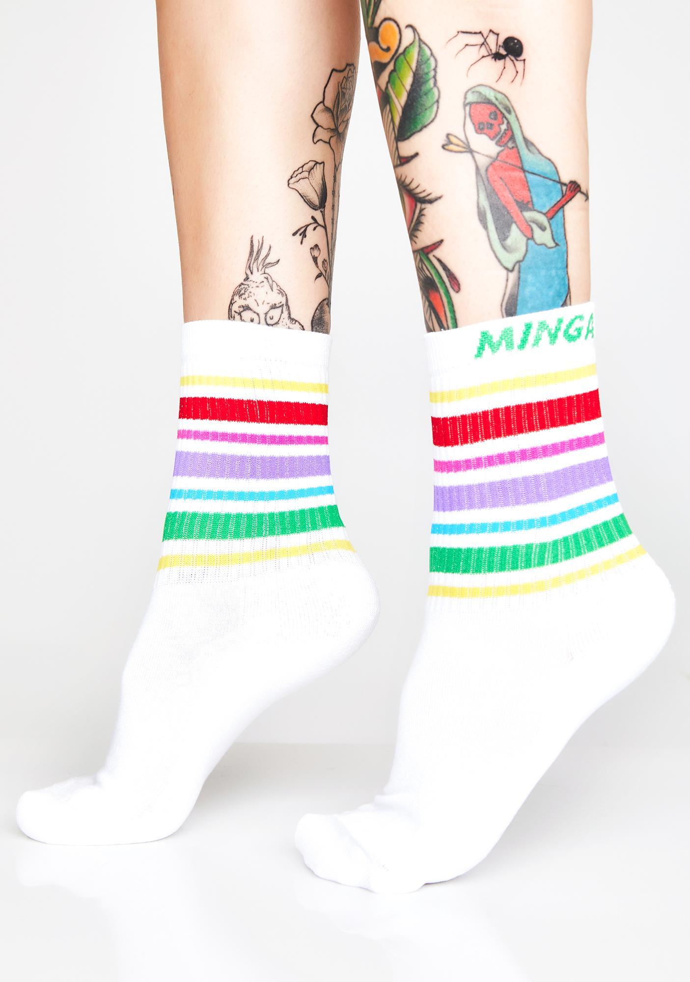 Minga Rainbow Striped Sporty Socks