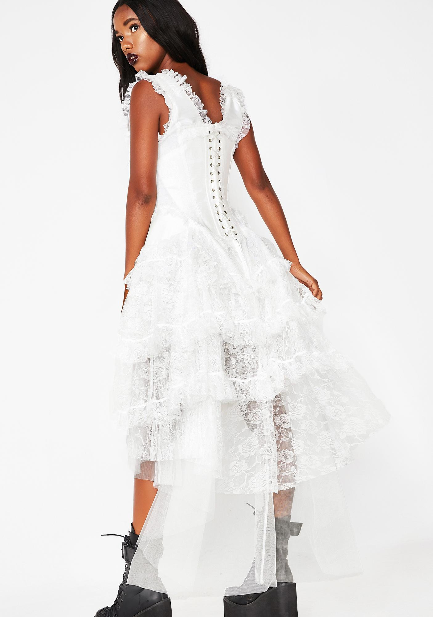 White Lace Corset Gown | Dolls Kill