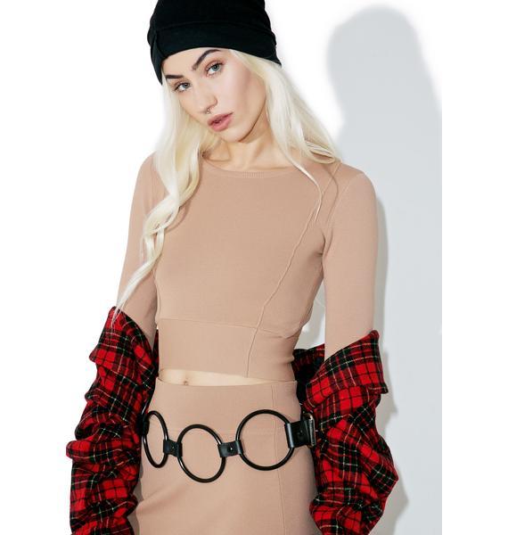 Kendall + Kylie Compact Crop Long Sleeve Top