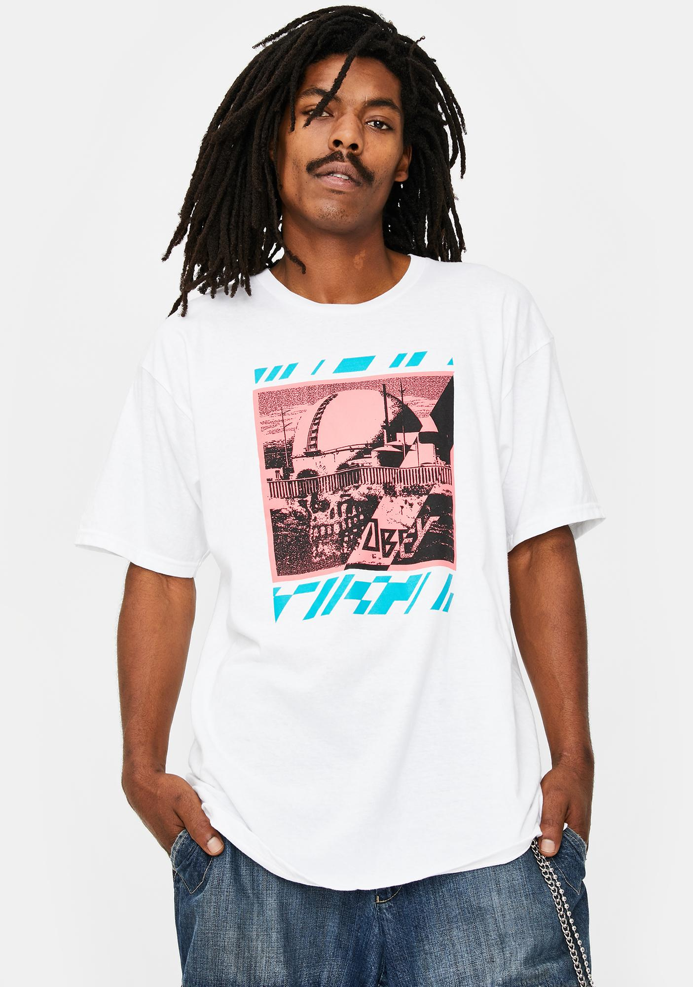 Obey Meltdown Skull Graphic Tee