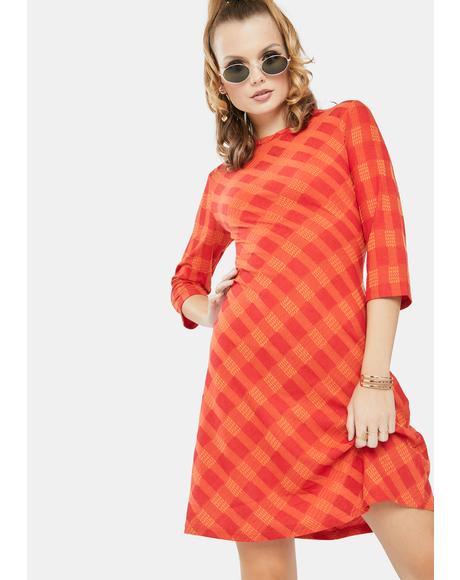 Red Orange Check Mini Dress