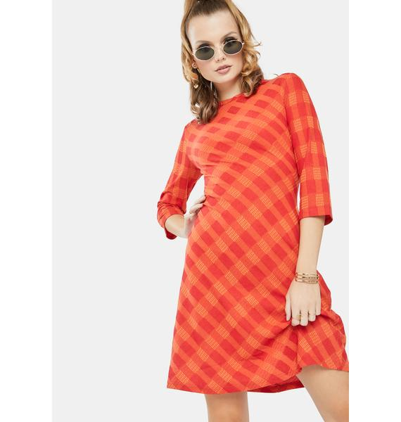Glamorous Red Orange Check Mini Dress