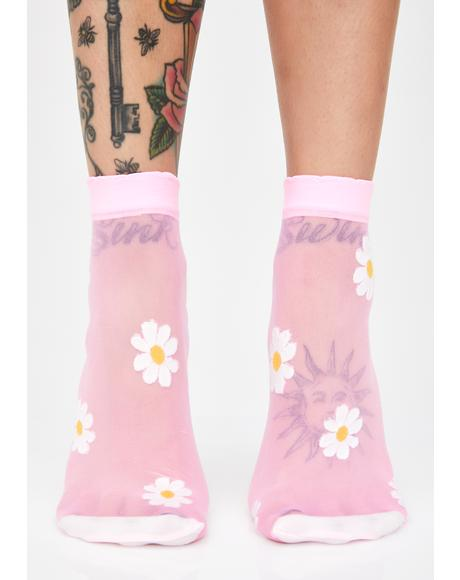 Dainty Daisy Sheer Socks