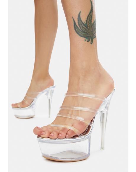Silver Pep Talk Platform Heels