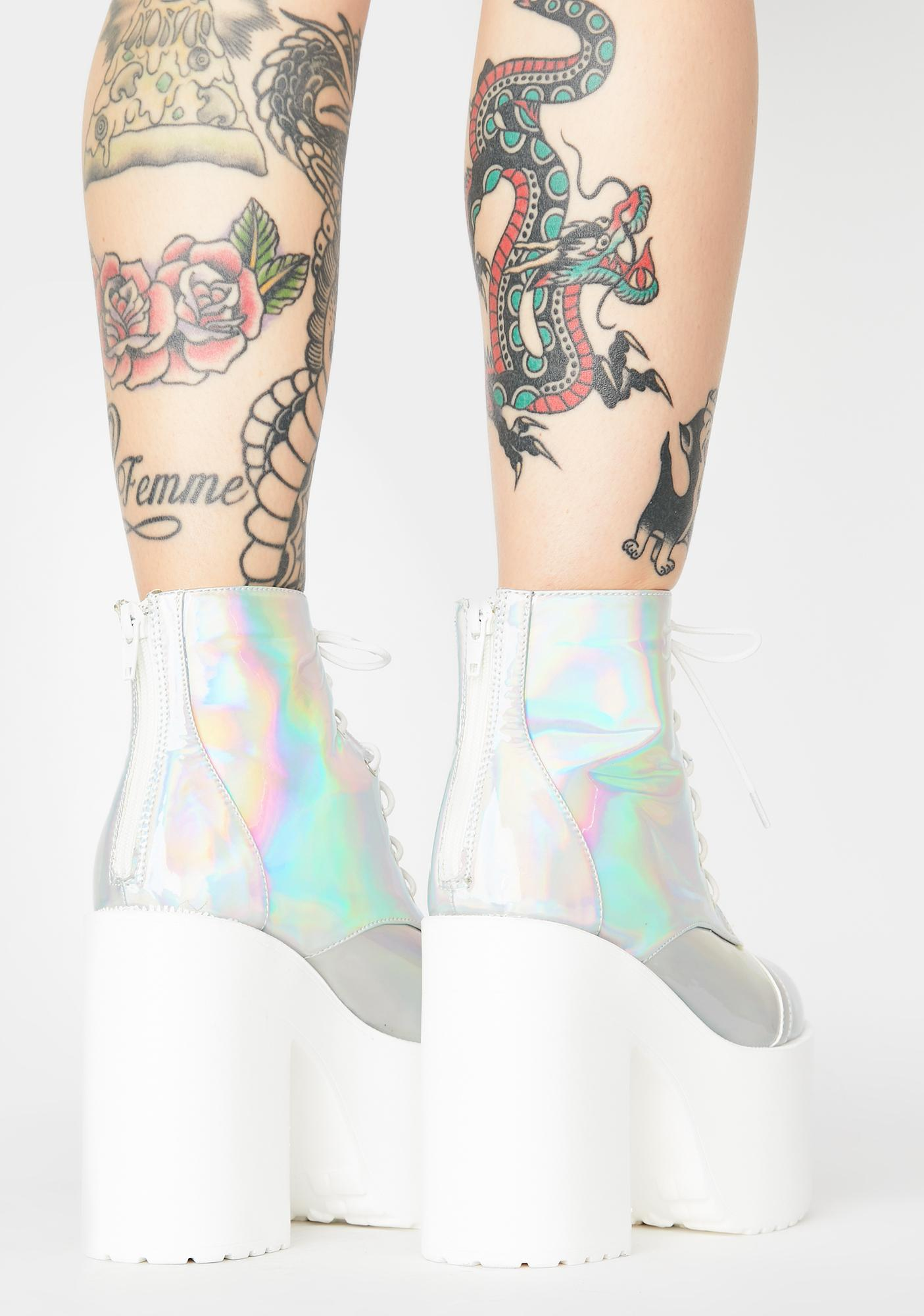 Holographic Tough Attitude Platform Booties