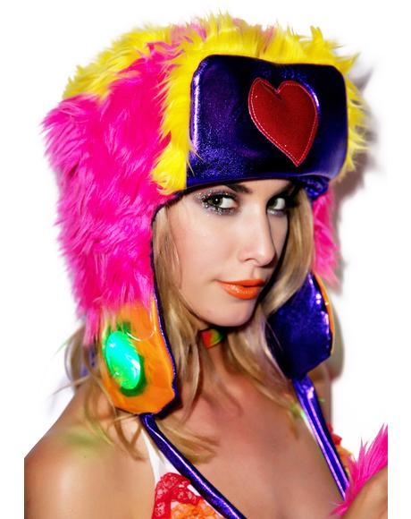 Happy Heart Faux Fur Hat