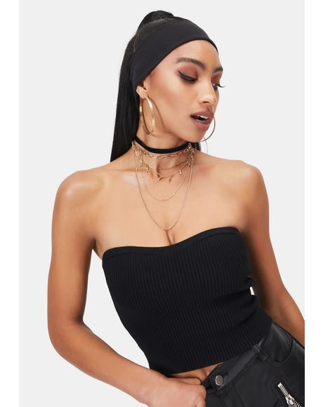 Night Pop To The Top Sweater Tube Top