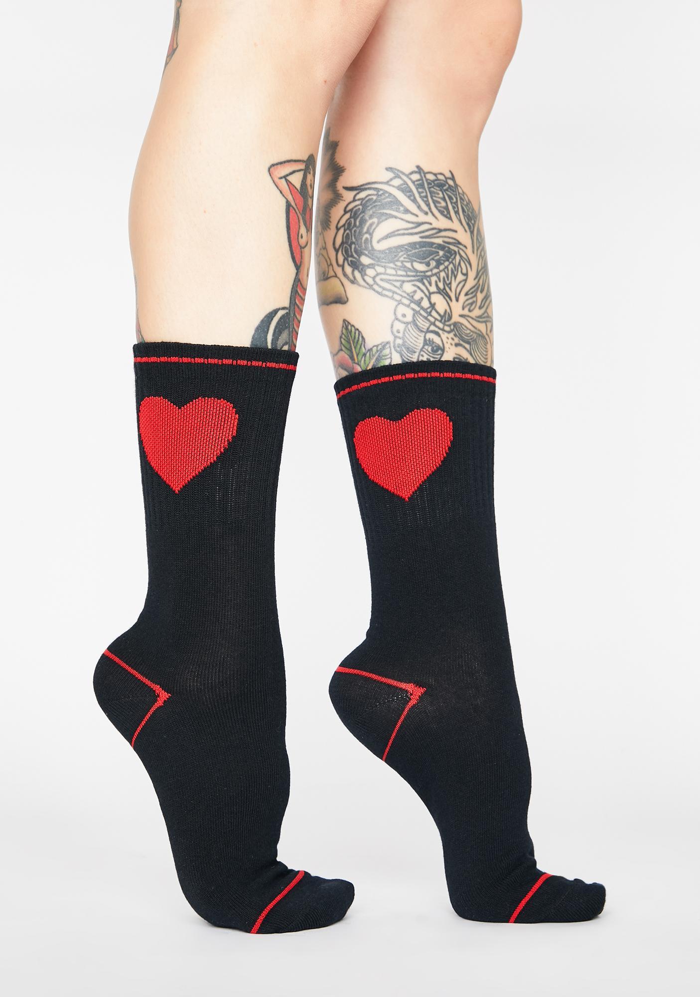 Midnight Show Me Your Heart Crew Socks