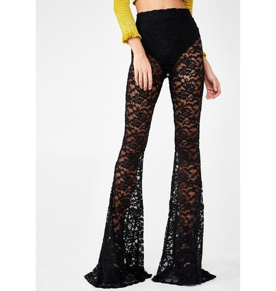 NEW GIRL ORDER Lace Flare Pants