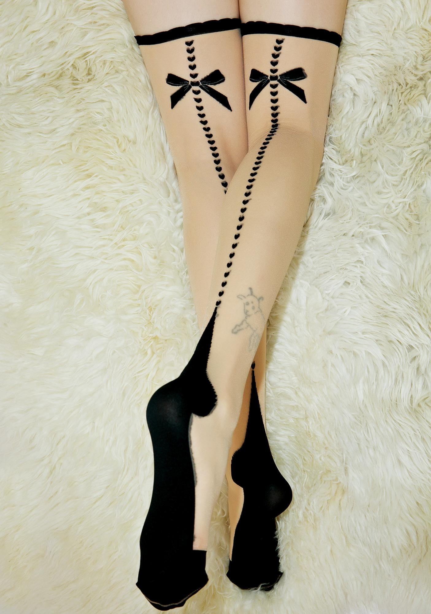 With A Bow Sheer Thigh-Highs