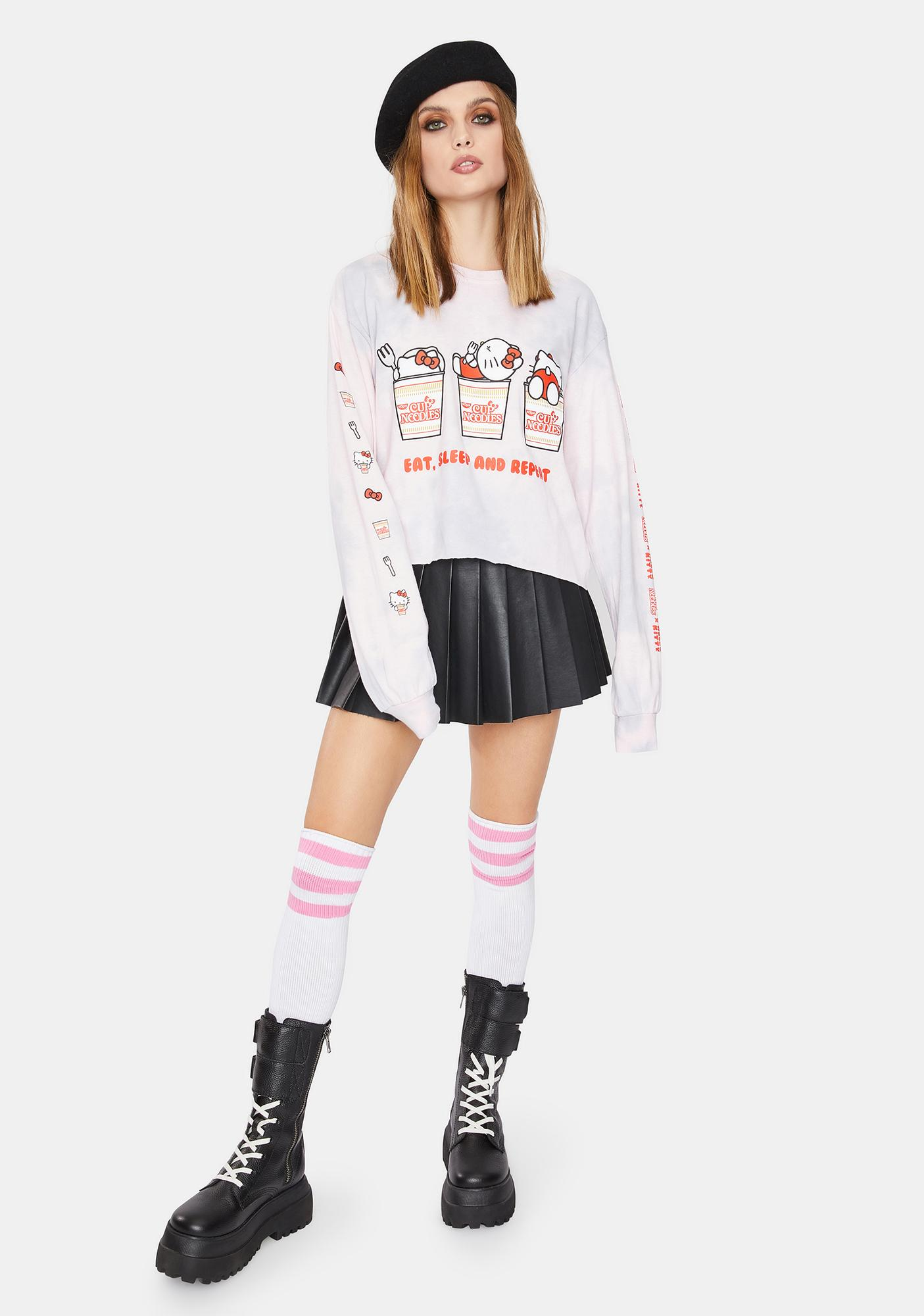 Hello Kitty x Cup Noodles Eat Sleep Repeat Cropped Graphic Tee