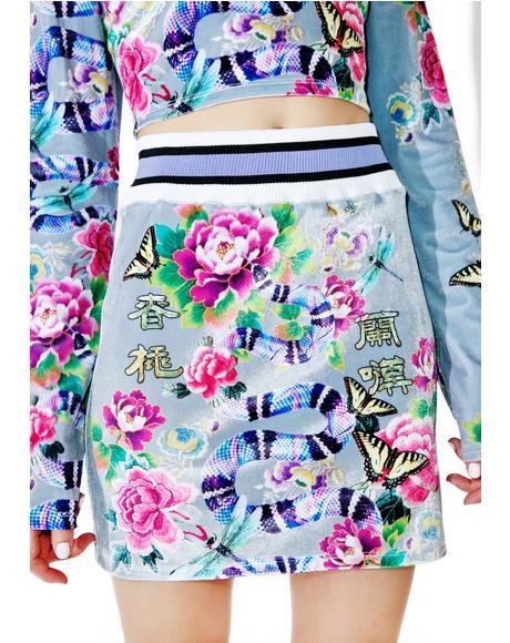 Printed Velvet Mini Skirt
