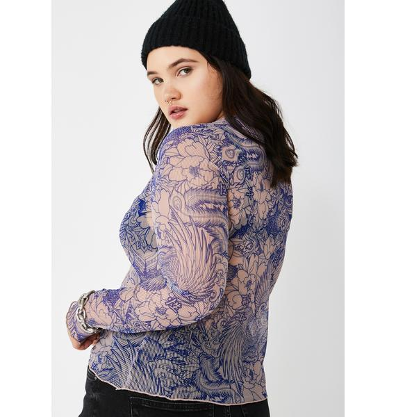 NEW GIRL ORDER Plus Blue Flower Print Mesh Top
