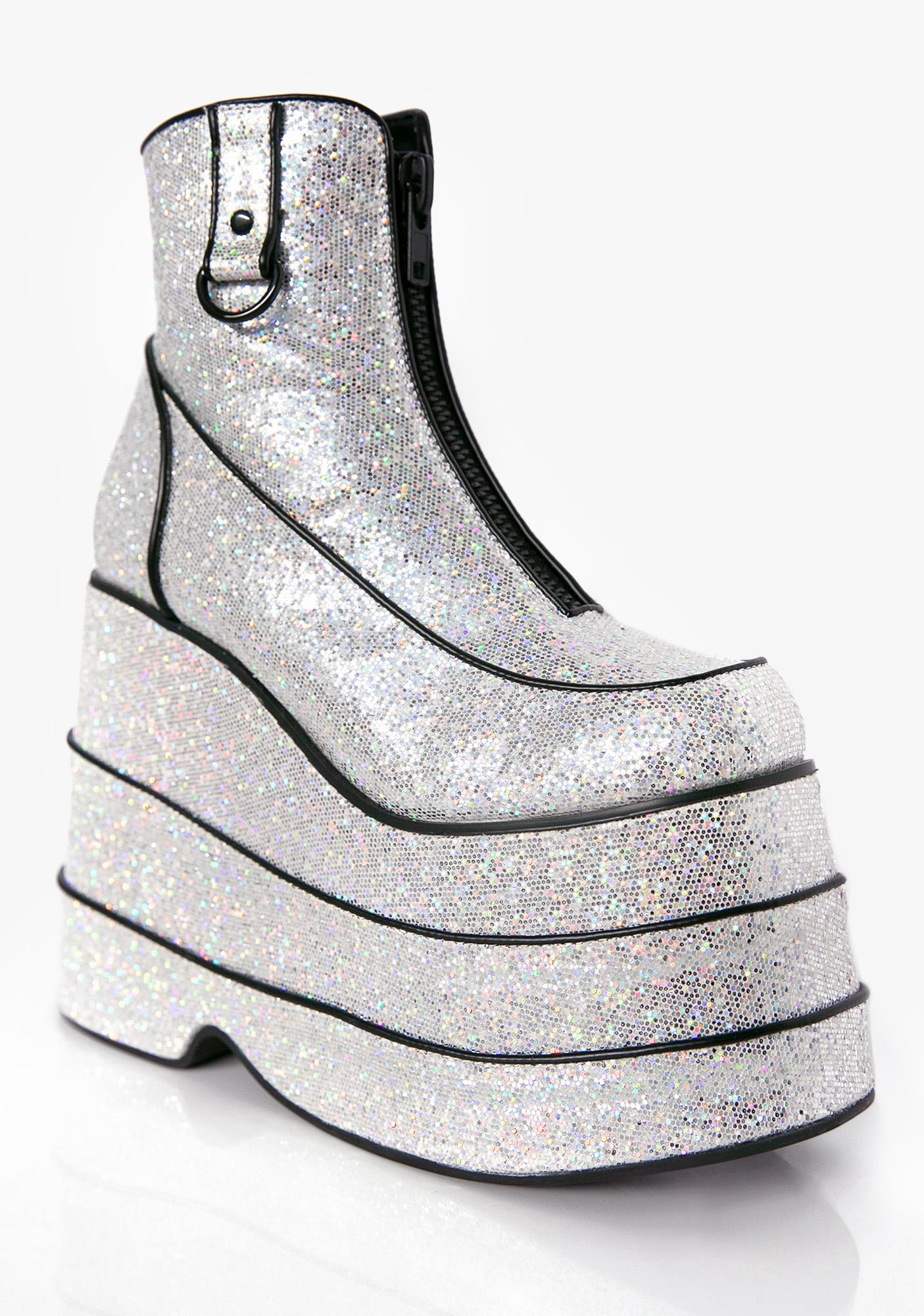 Club Exx Discotheque Glitter Platform Boots