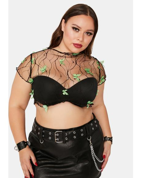 Lush True Fairy Haven Sheer Butterfly Crop Top