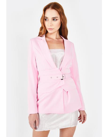 Pink Jackie Belt Blazer