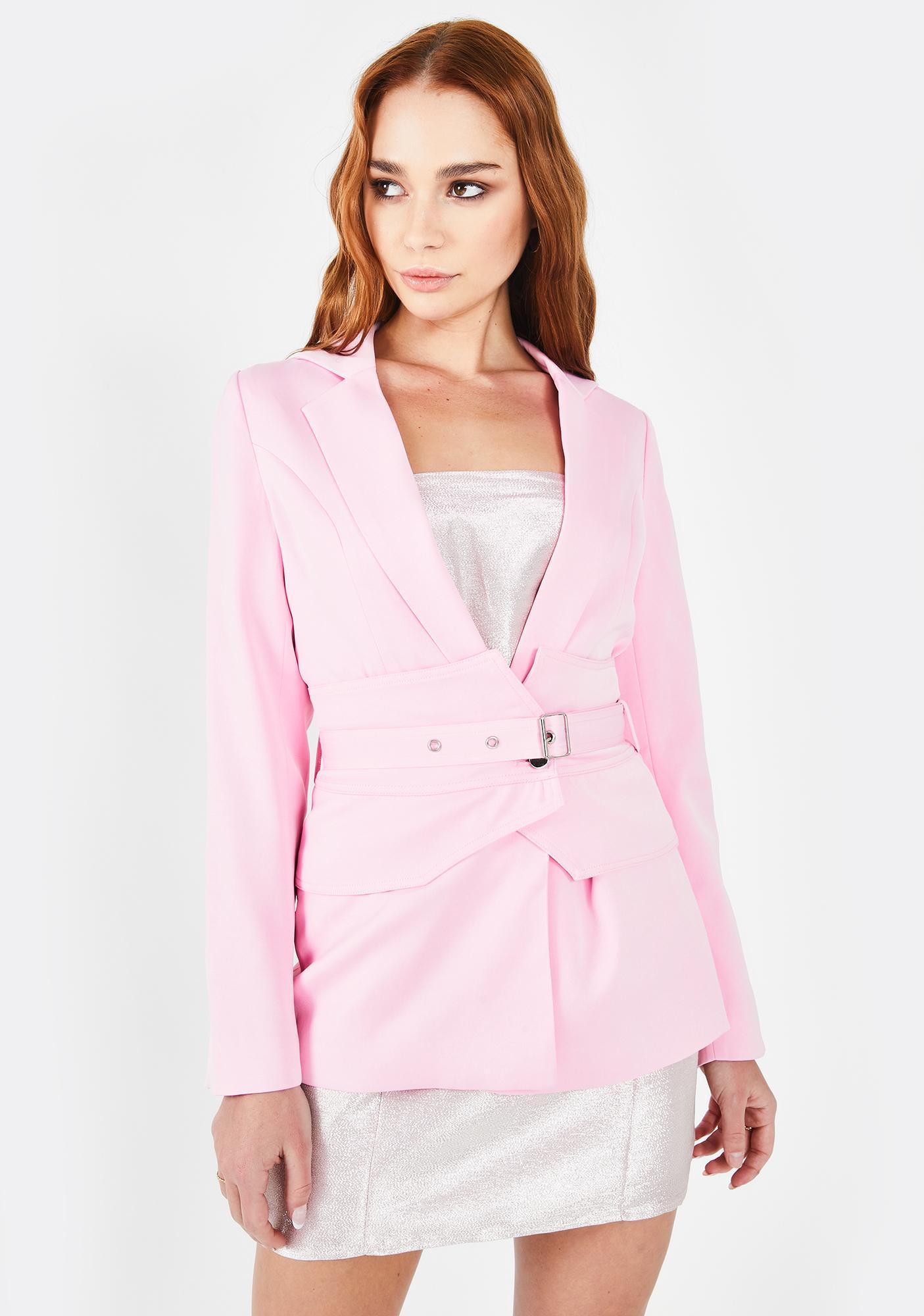 Prem the Label  Pink Jackie Belt Blazer