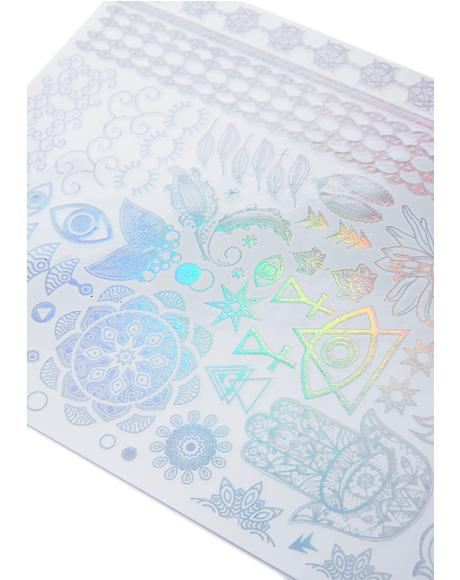 Ancient Rainbows Holographic Temporary Tattoos