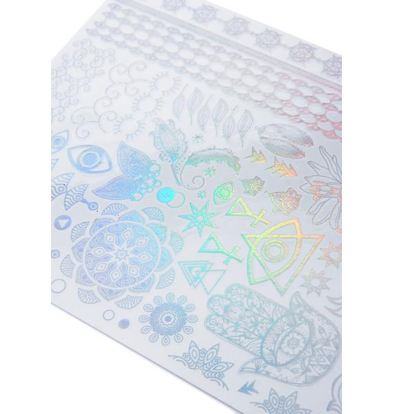 Love And Madness Ancient Rainbows Holographic Temporary Tattoos