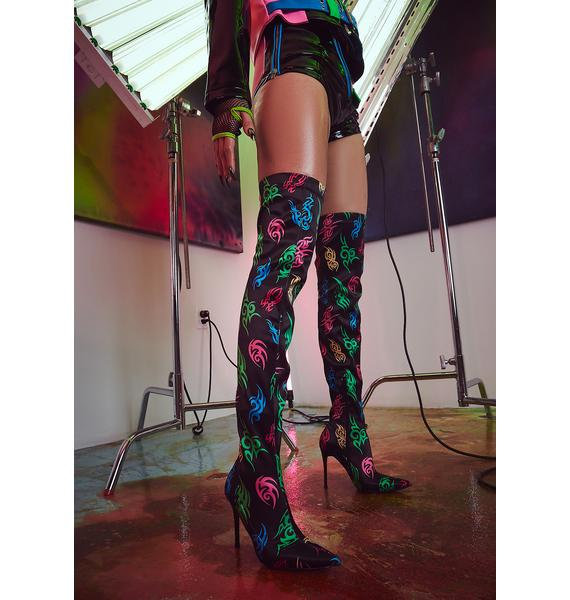 Current Mood Night On Your Mark Thigh High Boots