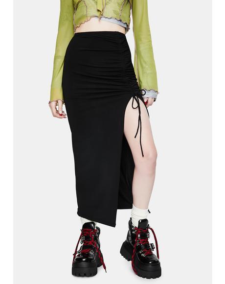 Black Maxel Midi Skirt