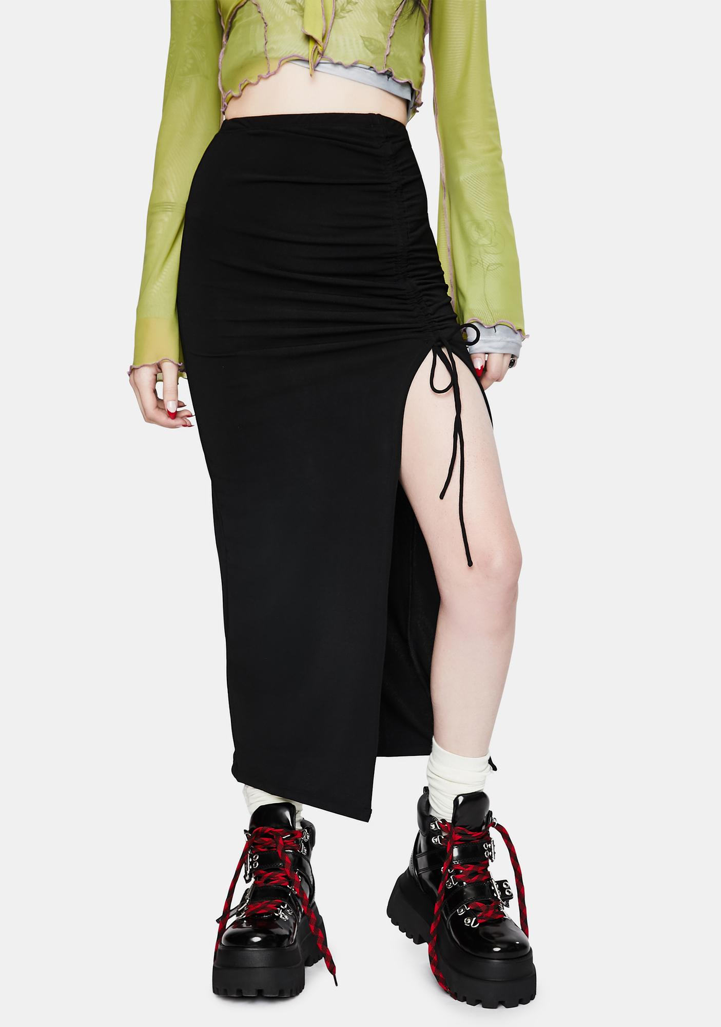 Motel Black Maxel Midi Skirt