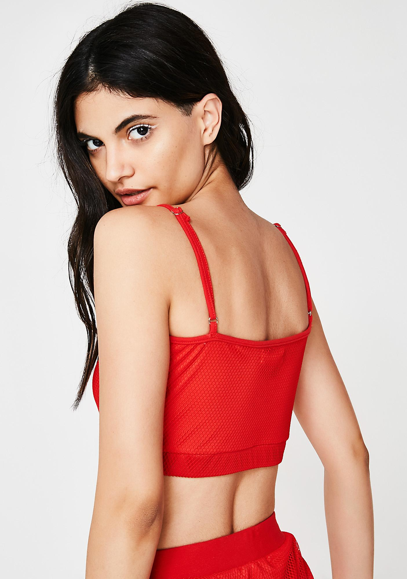 Playin' On Ur Heartstrings Mesh Crop Top
