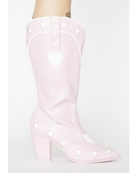 Pink Heart Space Cowgirl Boots