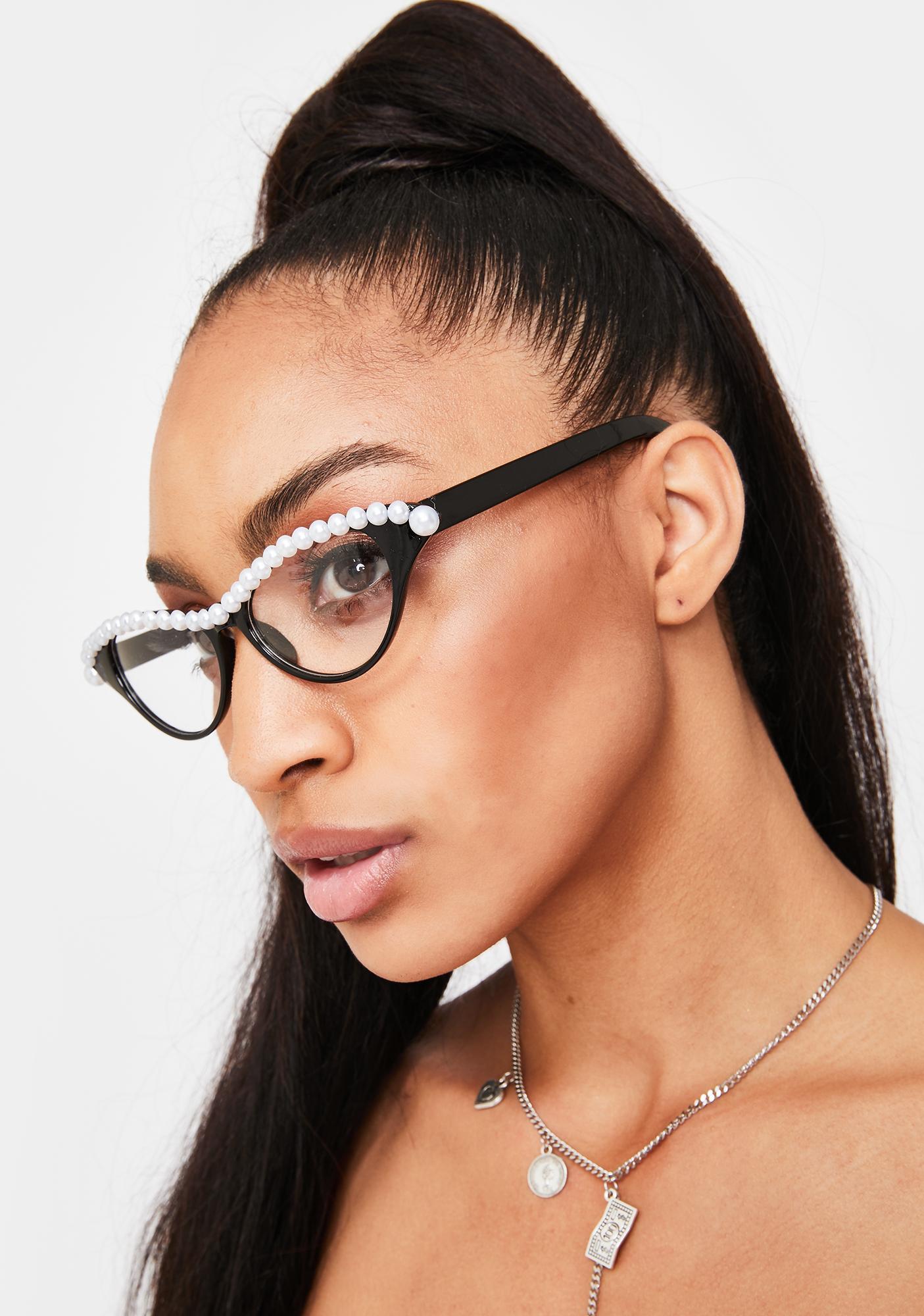 Pearly Gaze Cat-Eye Glasses