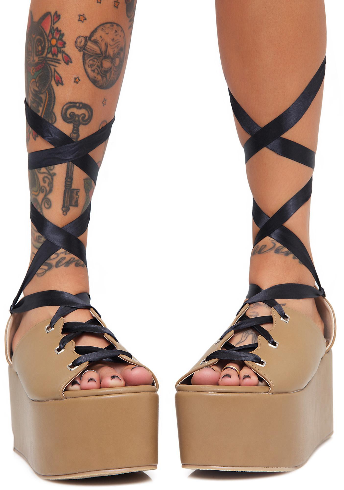 Public Desire Storm Tie Up Flatform Sandals