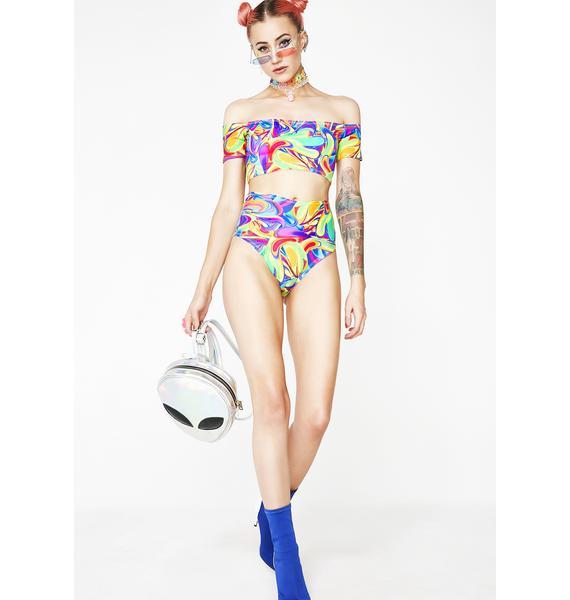 Rheabfunky Groovy Swirls High-Rise Bikini Bottoms