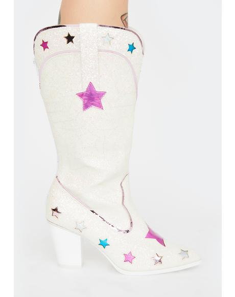 Space Cowgirl Glitter Boots