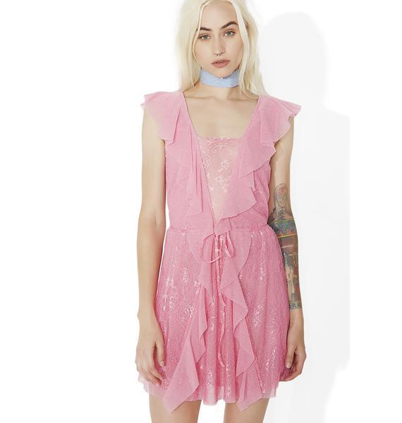 For Love & Lemons Stardust Lace Drawstring Dress