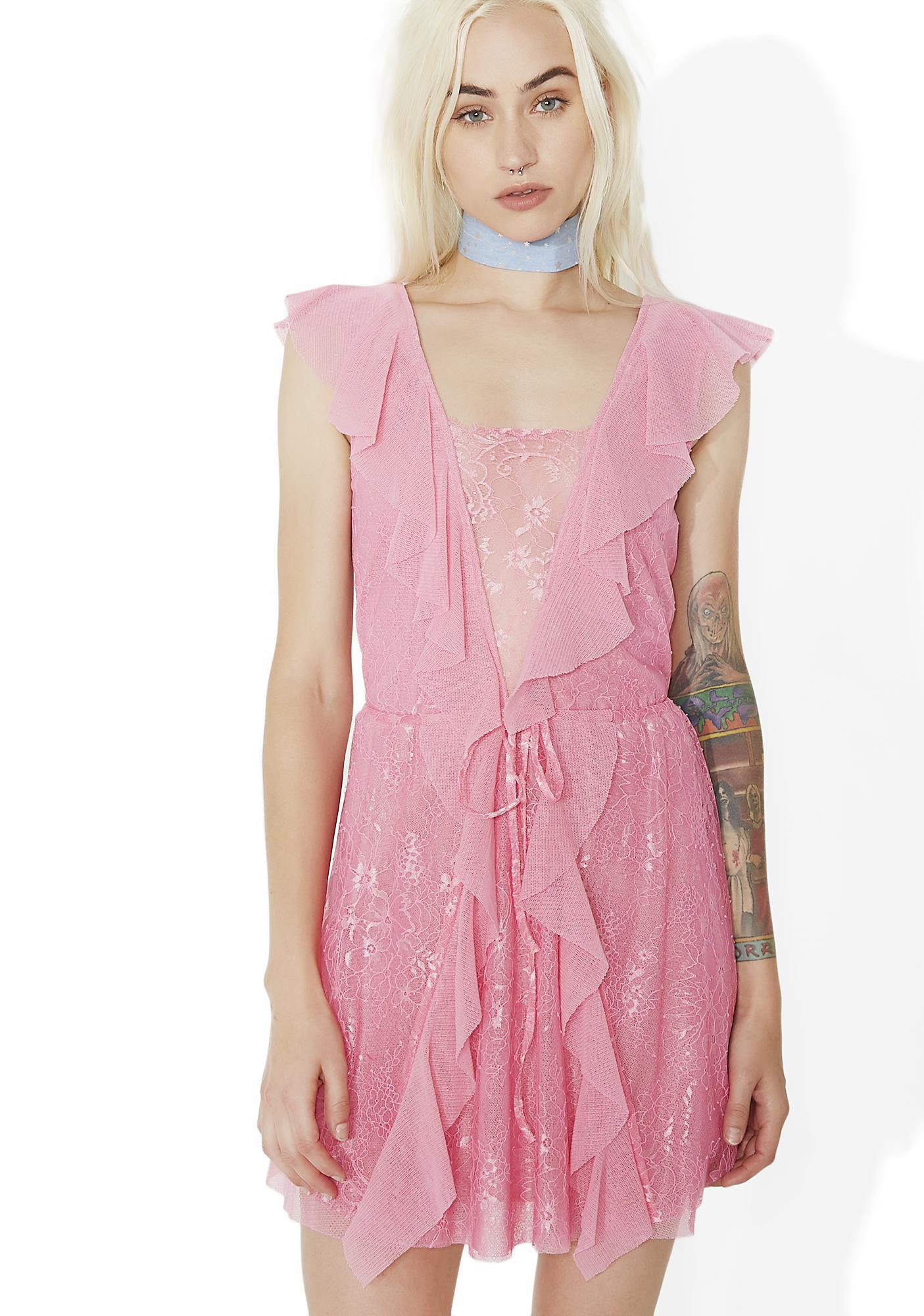 For Love Lemons Stardust Lace Drawstring Dress Dolls Kill