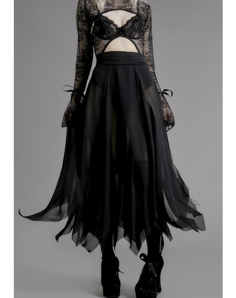 Brooding Shadows Chiffon Skirt