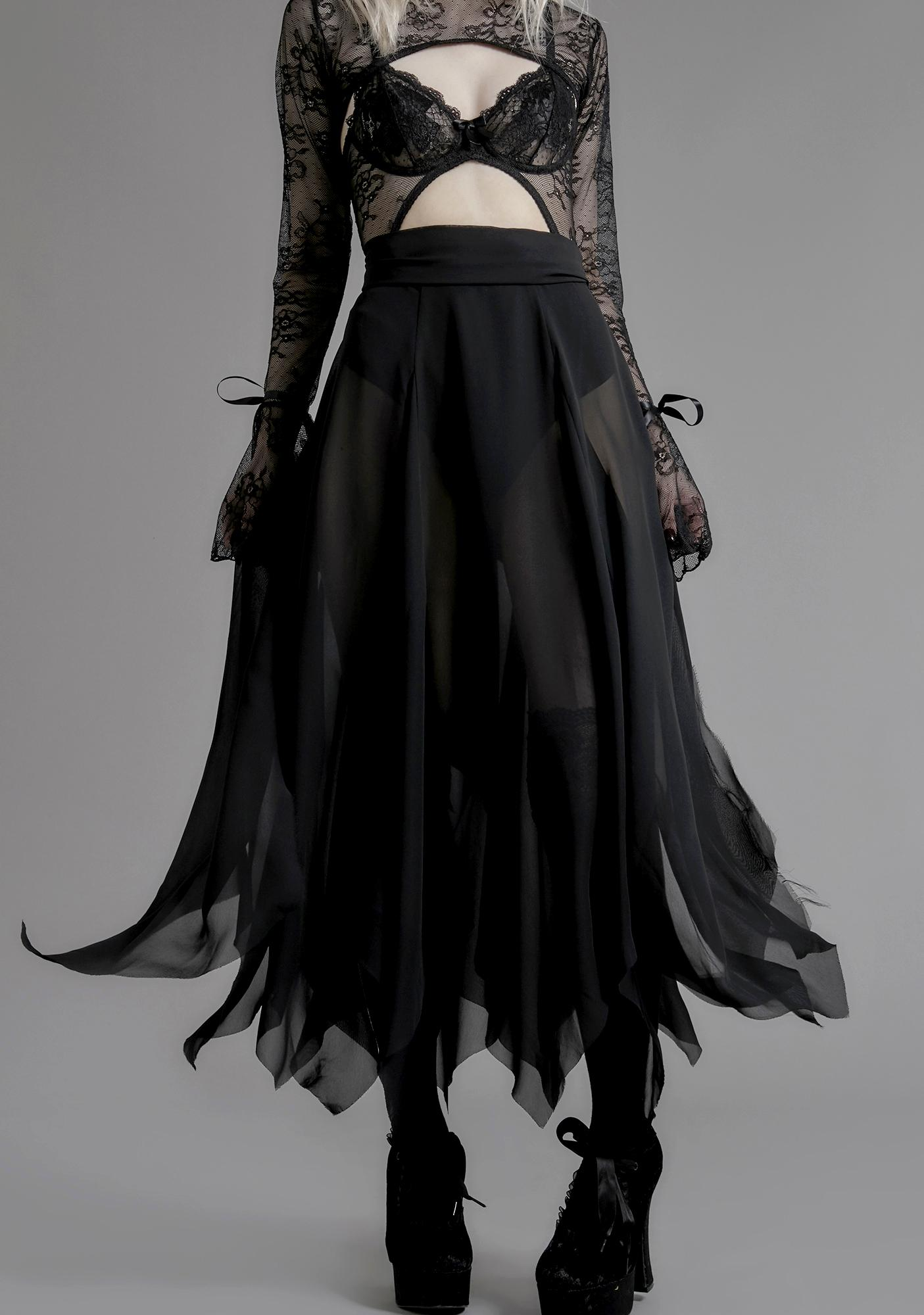 Widow Brooding Shadows Chiffon Skirt