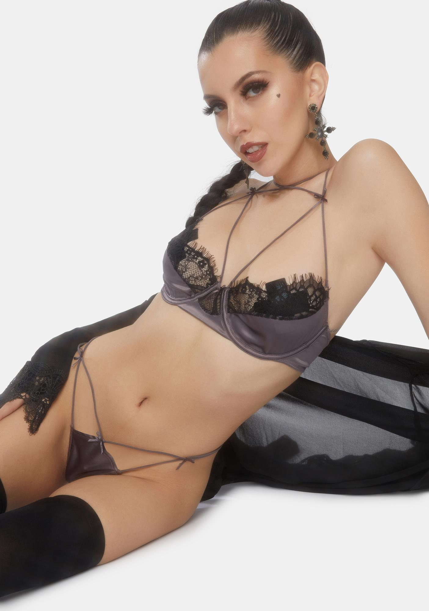 Oh la la Cheri Therese Lace Trim Satin Bra And Panty Set