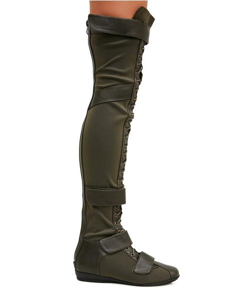 Olive Cold Soul Over-The-Knee Boots