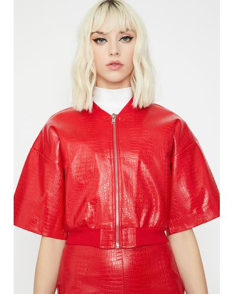 Cherry Haute Fashion Embossed Jacket