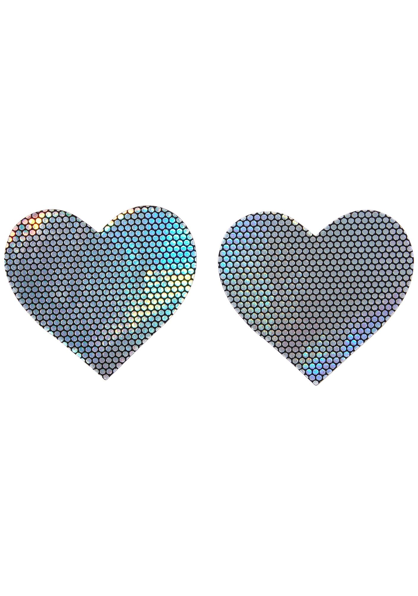 Neva Nude Holographic Heart Pasties