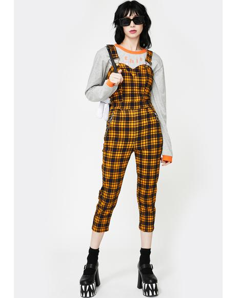 Yellow Plaid Fitted Overall Jumpsuit