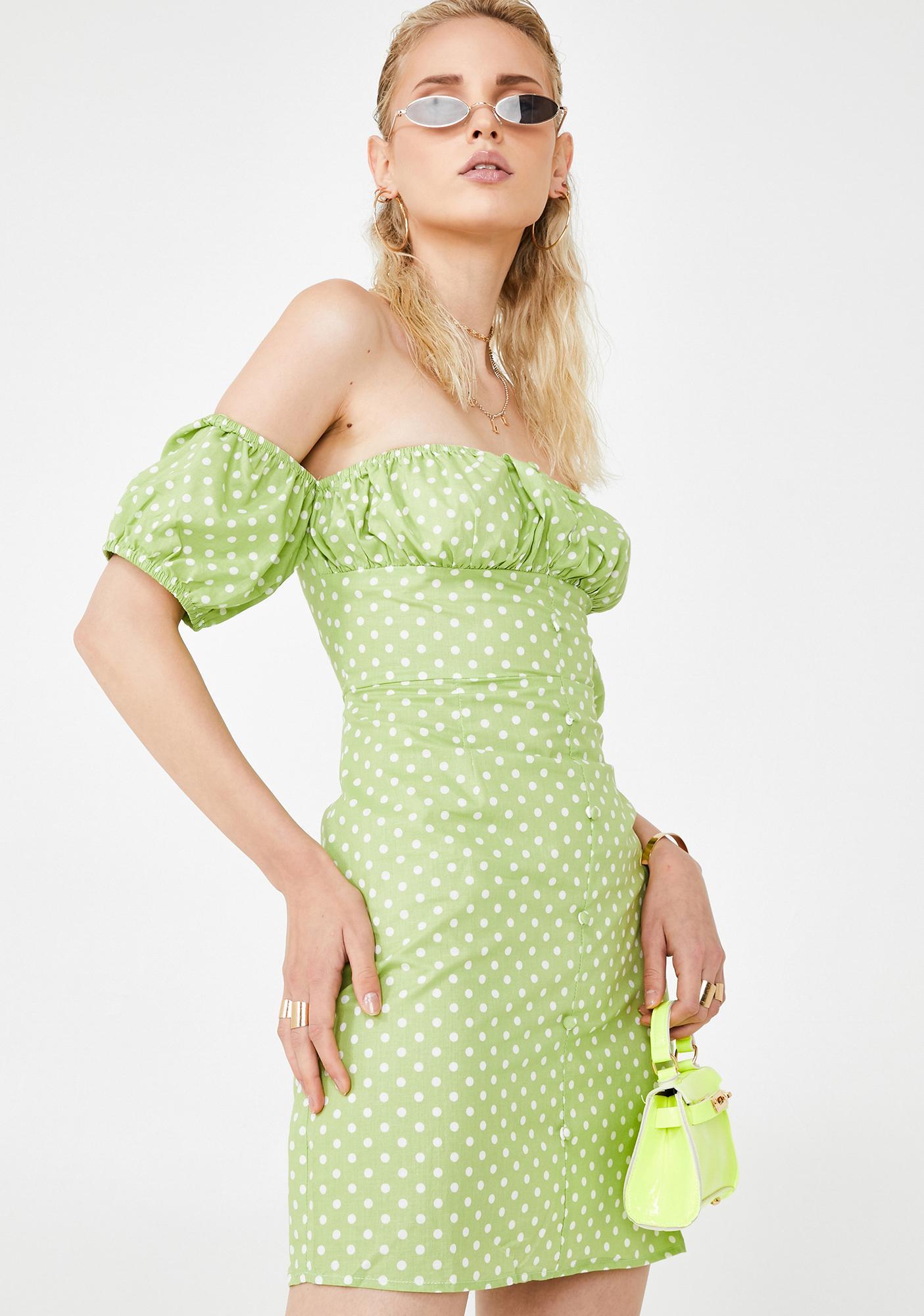 Glamorous Honeydew Divine Delight Off The Shoulder Dress