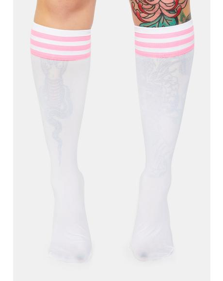 Pink Sporty Sass Stripe Knee High Socks